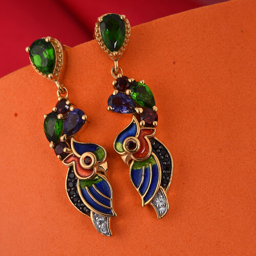 GP Russian Diopside (Pear), Multi Gemstone Enamelled Earrings (with Push Back) in 14K Gold Overlay Sterling Silver 2.25 Ct