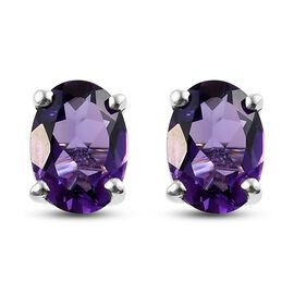 Amethyst Stud Earrings (with Push Back) in Platinum Overlay Sterling Silver 1.26 Ct.