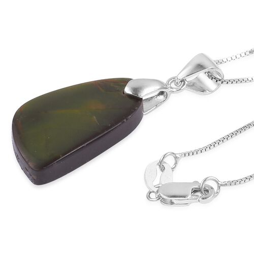 Canadian Ammolite Pendant with Chain in Rhodium Plated Sterling Silver 10.940 Ct.