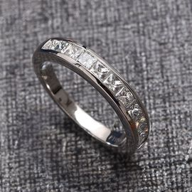 RHAPSODY 950 Platinum IGI Certified Diamond (Princess Cut) (VS/E-F) Half Eternity Band Ring 1.000 Ct.