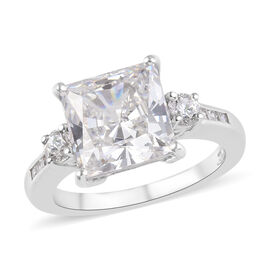J Francis - Platinum Overlay Sterling Silver (Sqr and Rnd) Ring Made with SWAROVSKI ZIRCONIA 7.50 Ct