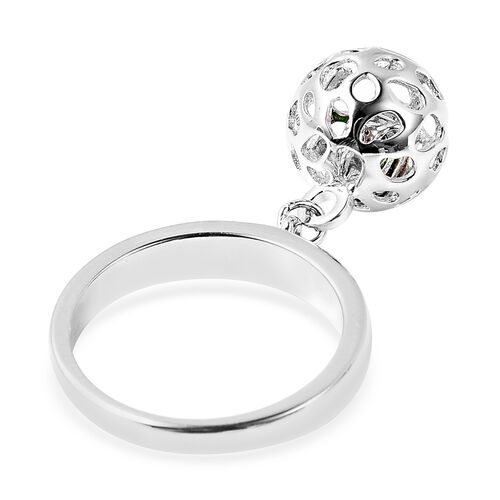 RACHEL GALLEY Russian Diopside Lattice Globe Ring in Rhodium Overlay Sterling Silver
