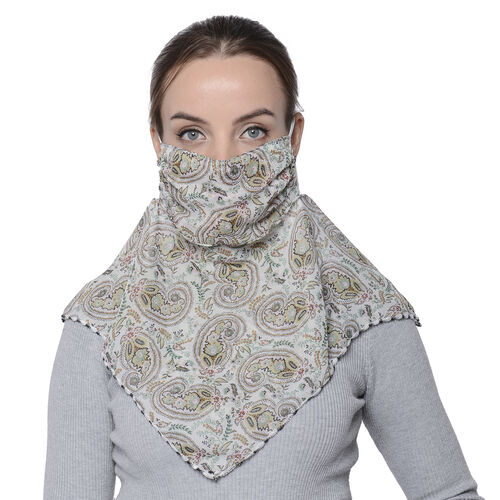 2 in 1 Paisley Pattern Chiffon Soft Feel Scarf and Protective Face Covering (Size 45x45 Cm) - Beige
