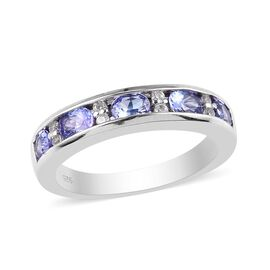 Tanzanite and Natural Cambodian Zircon Half Eternity Band Ring in Platinum Overlay Sterling Silver 1