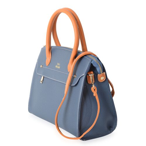 TW11 COLLECTION Blue City Tote Bag with External Zipper Pocket and Removable Shoulder Strap (Size 30.5x27x14.5 Cm)