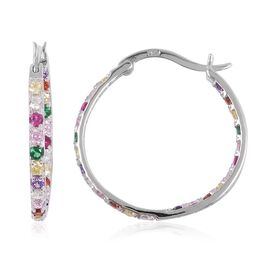 ELANZA Multi Colour Simulated Diamond (Rnd) Hoop Earrings (with Clasp) in Rhodium Overlay Sterling Silver