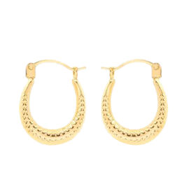 9K Yellow Gold Creole Hoop Earrings (with Clasp Lock)