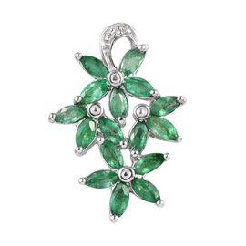1.15 Ct Brazilian Emerald and Diamond Floral Cluster Pendant in Platinum Plated Silver