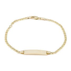 9CT Gold Flat Rambo Adjustable Bar Bracelet, Size 6-7 Inch
