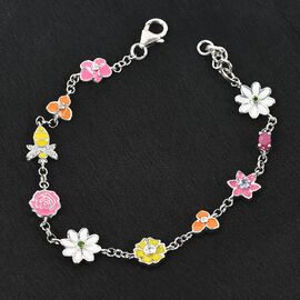 GP Itallian garden Leaf & Flower Collection - African Ruby, Tanzanite and Multi Gemstone Enamelled Bracelet (Size 7 with 0.5 inch Extender) in Platinum Overlay Sterling Silver