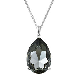 Swarovski Black Diamond Crystal (Pear) Pendant With Chain (Size 30) in Platinum Overlay Sterling Silver 26.000 Ct.