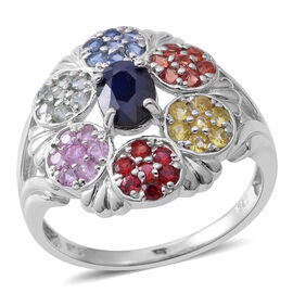Limited Edition- Designer Inspired- Kanchanaburi Blue Sapphire (Ovl) Rainbow Sapphire Ring in Rhodium Plated Sterling Silver 2.210 Ct.