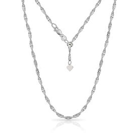 Designer Inspired- Sterling Silver Adjustable Twisted Singapore Diamond Cut Necklace (Size 24)