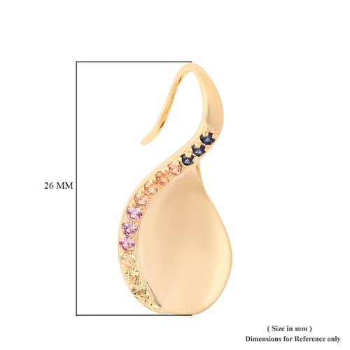 Isabella Liu Twilight Collection -Orange Sapphire, Madagascar Pink Sapphire, Yellow Sapphire and Madagascar Blue Sapphire Fancy Hook Earrings in Yellow Gold Overlay Sterling Silver