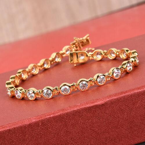 J Francis - 14K Gold Overlay Sterling Silver Bracelet (Size 7.5) Made with SWAROVSKI ZIRCONIA 13.00 Ct, Silver wt 16.00 Gms