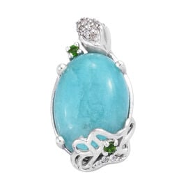 13.3 Ct Peruvian Amazonite and Multi Gemstone Solitaire Pendant in Sterling Silver 4.02 Grams