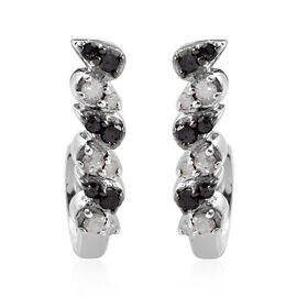 Black and White Diamond (Rnd) Earrings (with Push Back) in Platinum Overlay Sterling Silver 0.200 Ct
