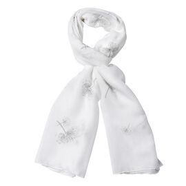 White Colour Dandelion Pattern Scarf (Size 180x70 Cm)