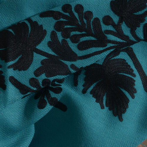 100% Merino Wool Turquoise Green and Black Colour Embroidered Shawl with Tassels (Size 190X70 Cm)