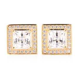 J Francis - Yellow Gold Overlay Sterling Silver Stud Earrings (with Push Back) Made with SWAROVSKI Z