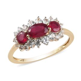 9K Yellow Gold AA African Ruby and Natural Cambodian Zircon Ring 1.85 Ct.