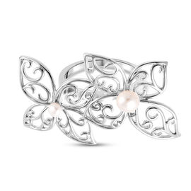 LucyQ White Freshwater Pearl Flower Petal Ring in Rhodium Overlay Sterling Silver