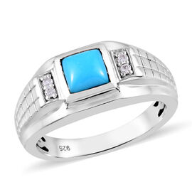 0.92 Ct Sleeping Beauty Turquoise and Zircon Ring in Platinum Plated Silver