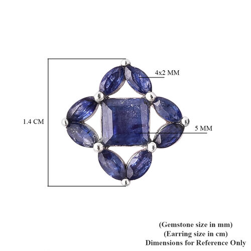 Isabella Liu Floral Collection - Masoala Sapphire Stud Earrings in Rhodium Overlay Sterling Silver