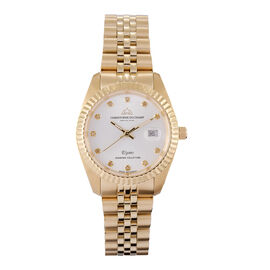 CHRISTOPHE DUCHAMP: Elysees Swiss Movement Watch With Diamonds  in Gold Tone Stainless Steel