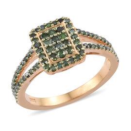 Green Diamond (Rnd) Ring in 14K Gold Overlay Sterling Silver 0.500  Ct.