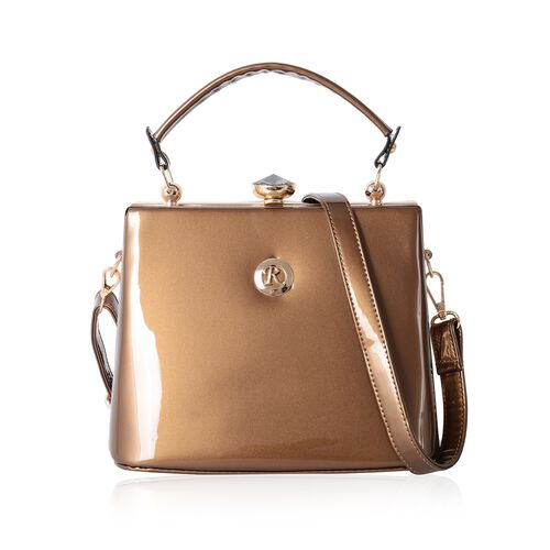 Boutique Collection High Glossed Vintage Style Golden Colour Evening Bag with Adjustable and Removab