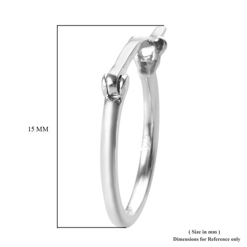 Platinum Overlay Sterling Silver Hoop Earrings (with Push Back)
