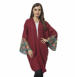 Wine and Multi Colour Flower Pattern Lace Sleeve Kimono (Size 90x70 Cm)