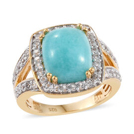 4 Carat Peruian Amazonite and Cambodian Zircon Halo Ring in Gold Plated Sterling Silver 4.56 Grams