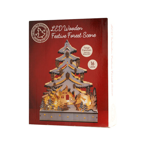Wooden Christmas Tree Forest Scene LED Battery Operated House with Timer (Size: 30x7.5x38.5cm) (2xAA