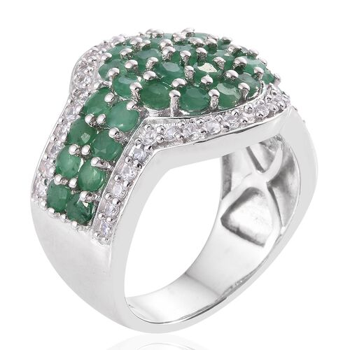 Kagem Zambian Emerald (Rnd), Natural Cambodian Zircon Ring in Platinum Overlay Sterling Silver 3.750 Ct. Silver wt. 10.28 Gms.