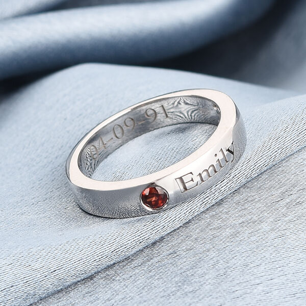 Personalise Engravable Birthstone Band Ring in Silver