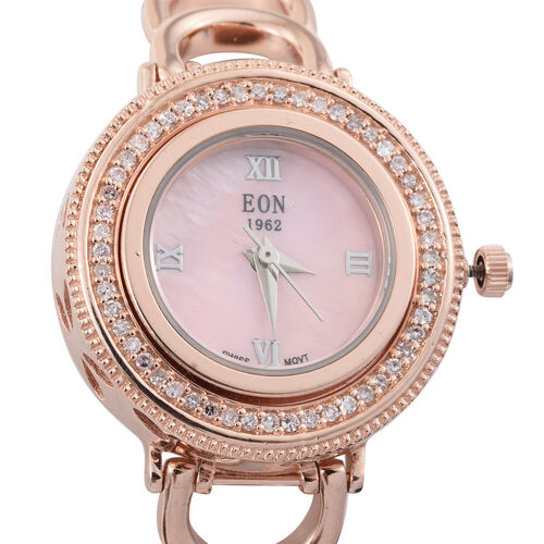 Limited Edition - EON 1962 Natural Pink Diamond Swiss Movement Sapphire Glass Watch (Size 6.5 to 8.5) in Vermeil Rose Gold Overlay Sterling Silver, Metal wt 45 Gms, 0.33ct