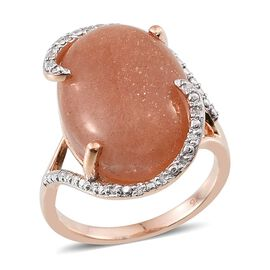9K Rose Gold AA Morogoro Peach Sunstone (Ovl), Diamond Ring 12.100 Ct.