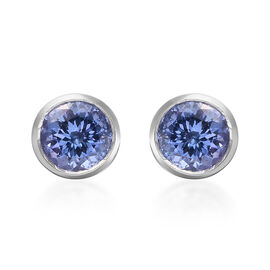 1.75 Ct AA Tanzanite Solitaire Stud Earrings in 9K White Gold