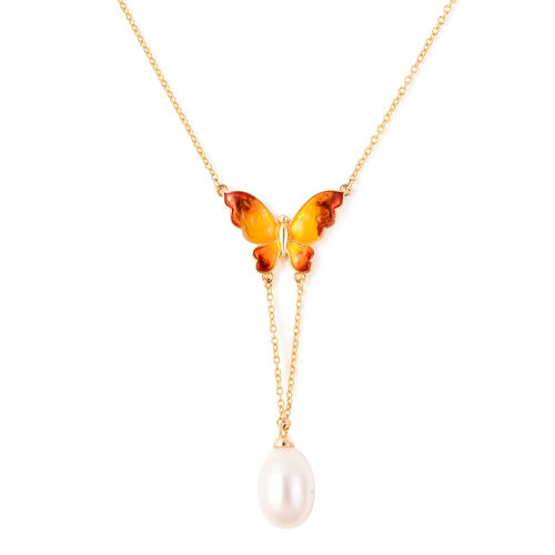GP - Freshwater Pearl and Blue Sapphire Enamelled Butterfly Lariat Necklace (Size 20) in Yellow Gold