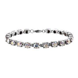 J Francis - Crystal from Swarovski White AB Crystal (Rnd) Bracelet (Size 7.5) in Stainless Steel