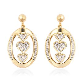 J Francis White Crystal from Swarovski Drop Heart Earrings in Yellow Gold Plated Sterling Silver