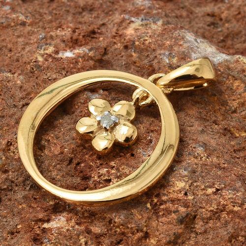 Diamond (Rnd) Flower Pendant in 14K Gold Overlay Sterling Silver 0.020 Ct