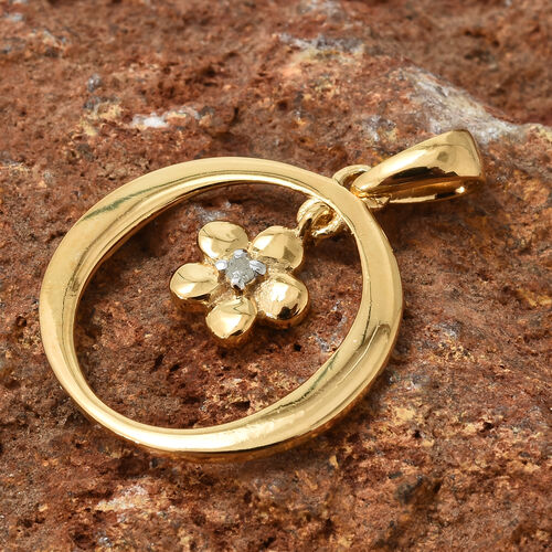 Diamond (Rnd) Flower Pendant in 14K Gold Overlay Sterling Silver 0.020 Ct