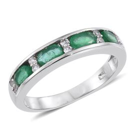 Kagem Zambian Emerald (Ovl), Natural Cambodian Zircon Band Ring in Platinum Overlay Sterling Silver 1.000 Ct.