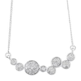 Diamond (Rnd) Necklace with Chain (Size 18) in Platinum Overlay Sterling Silver 0.300 Ct.