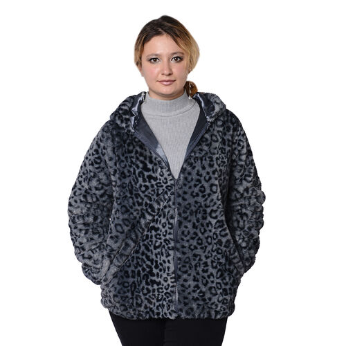 DOD - Super Soft Faux Fur Leopard Pattern Coat in Grey (Size L)
