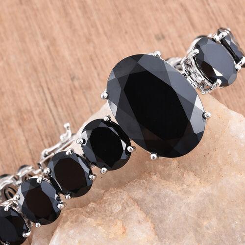 Rare Size Boi Ploi Black Spinel (Ovl 35.20 Ct) Bracelet (Size 7.25) in Platinum Overlay Sterling Silver 91.250 Ct. Silver wt. 25.29 Gms.