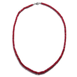 Super Auction-Ruby (Rnd) Beads Necklace (Size 18) in Rhodium Overlay Sterling Silver 90.00 Ct.